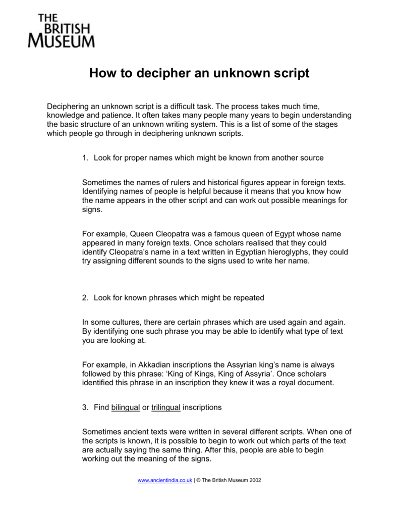 How to decipher an unknown script