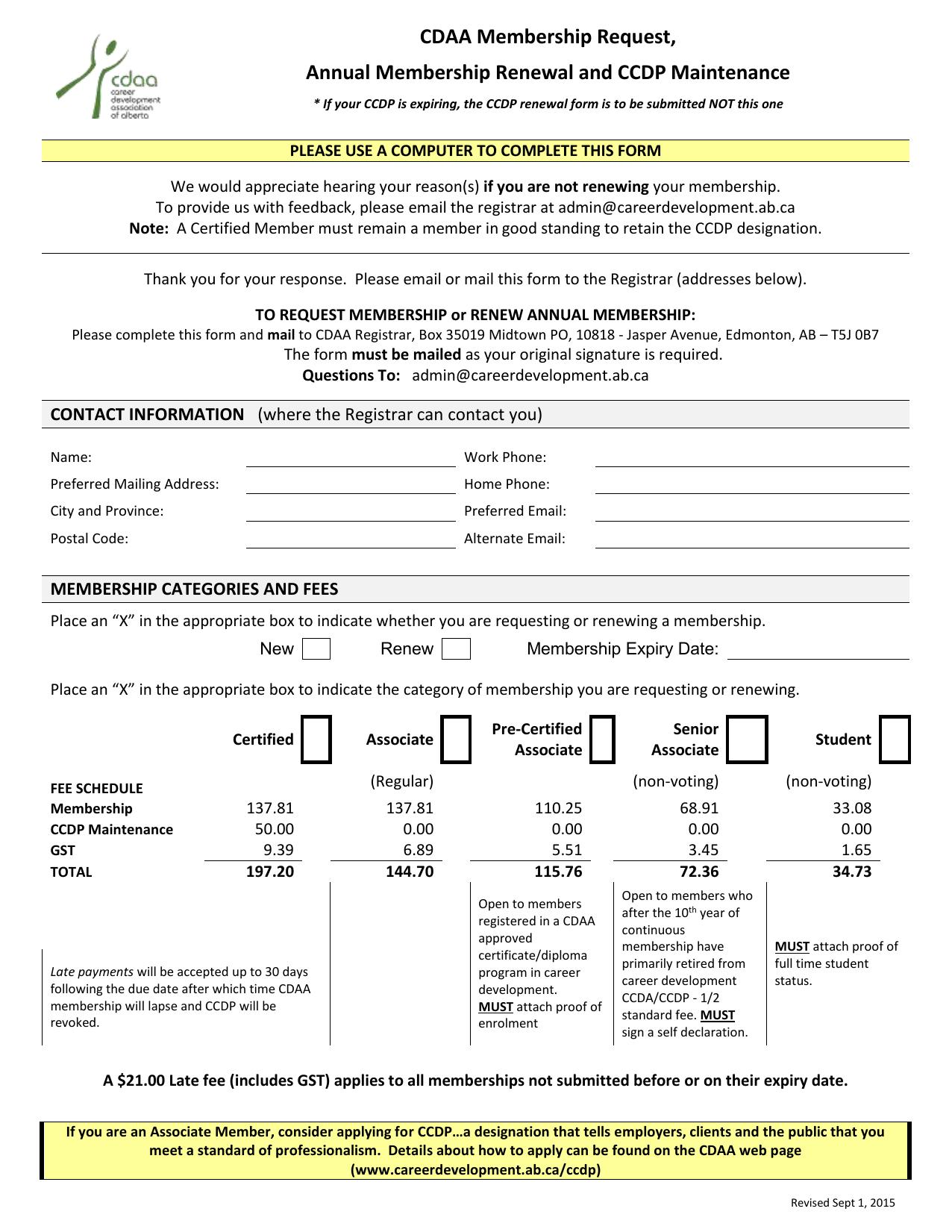 CDAA Membership application form