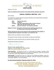 Association du Québec February 11th, 2013 Notice of a meeting to
