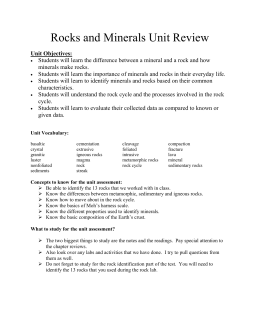 Rocks and Minerals Unit Review