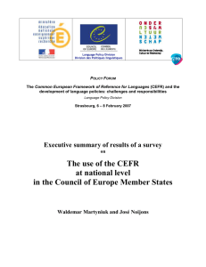 4.3. The use of the CEFR