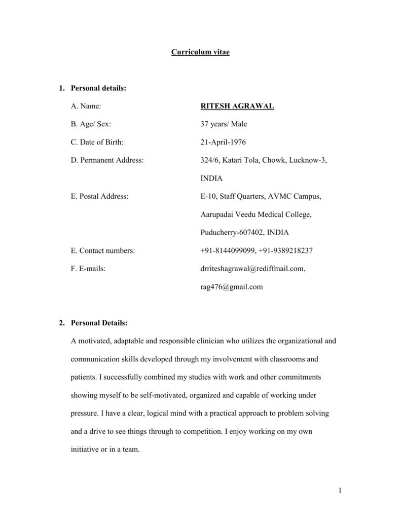 curriculum vitae roshan mishra