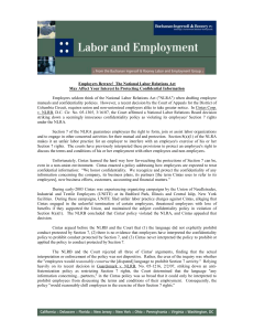 Employers Beware! The National Labor Relations Act May Affect