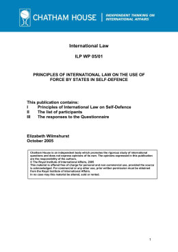 Principles of International Law on the Use of