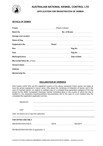 Application for Registration of Semen