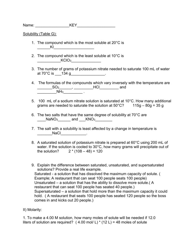 solubility questions KEY