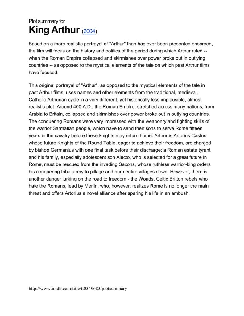 king arthur plot summary
