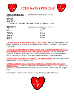 2015 ACLS Class Schedule - Clark Memorial Hospital
