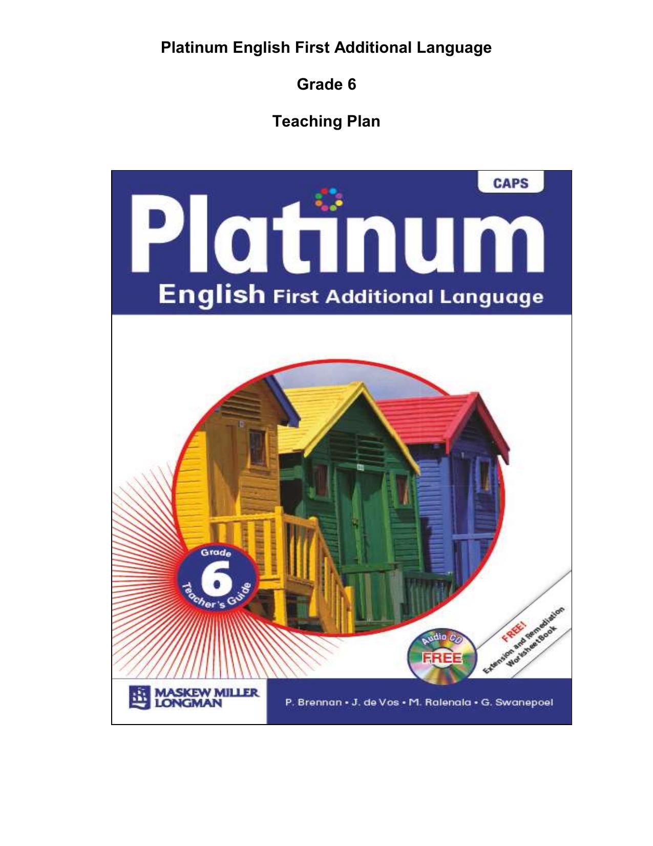 Platinum English First Additional Language Grade 6 Teaching Plan