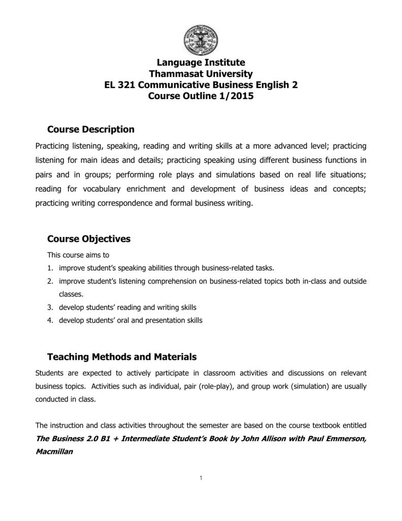 EL 321 Communicative Business English 2