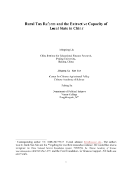 Rural Governance and Revenue Extraction in China: some