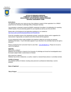 CREDO Referee Assessment Form