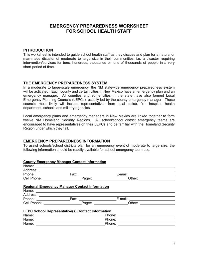 Worksheets Emergency Preparedness Worksheet emergency preparedness worksheet