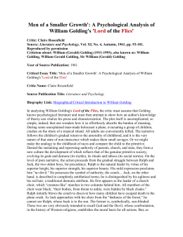 A Psychological Analysis of William Golding`s `Lord of