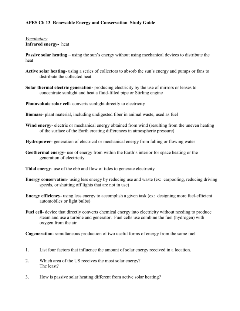 APES Ch 13 Renewable Energy and Conservation Study Guide