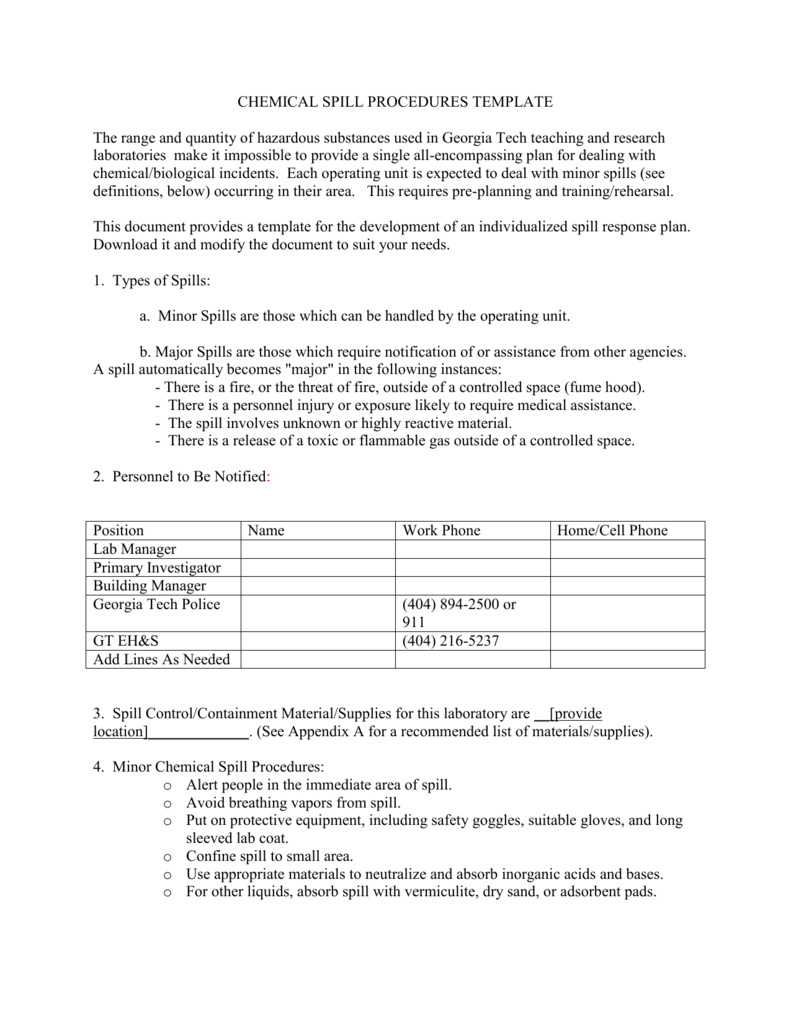 CHEMICAL BIOLOGICAL SPILL PROCEDURES TEMPLATE