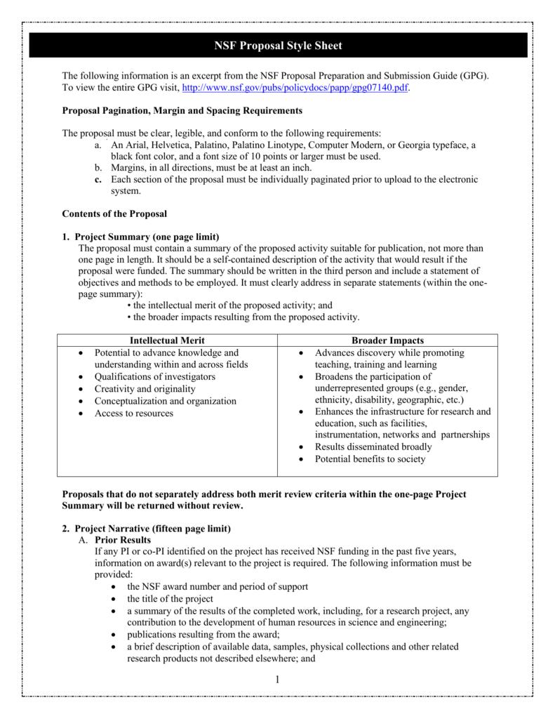 NSF Proposal Style Sheet