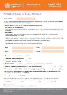 questionnaire on hand hygiene and healthcare