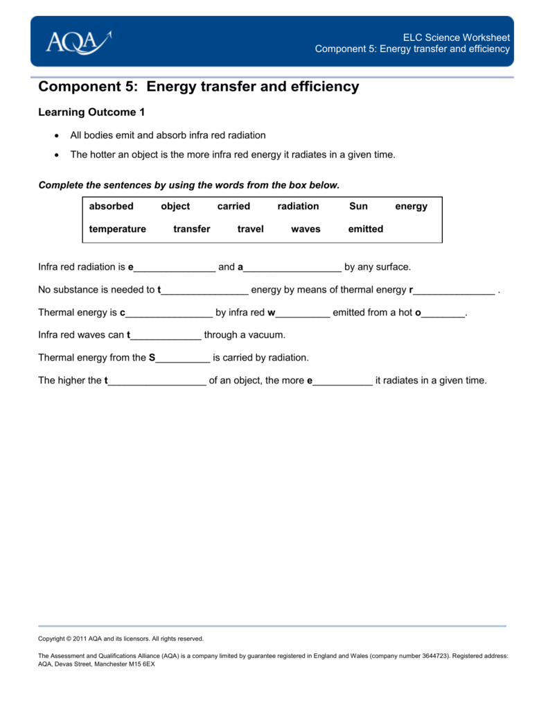 Worksheets Energy Transfer Worksheet component 5 energy transfer and efficiency
