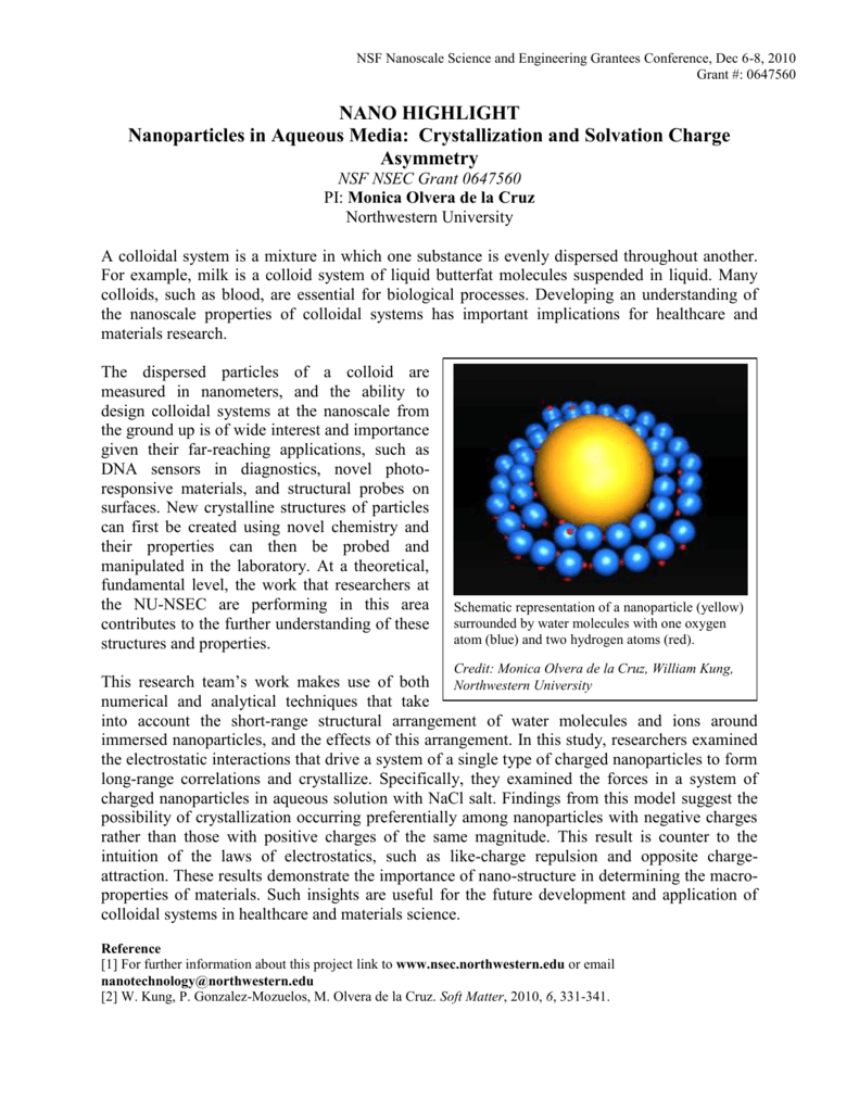 Nanoparticles in Aqueous Media - NSF Nanoscale Science and