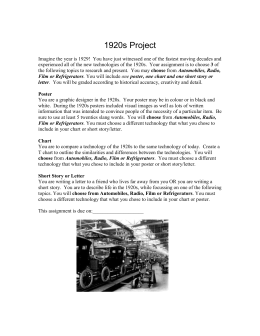inventions of the 1920s essay The roaring twenties saved essays save your essays the roaring 1920's was effected by many inventions and a new life that americans were adapting to.