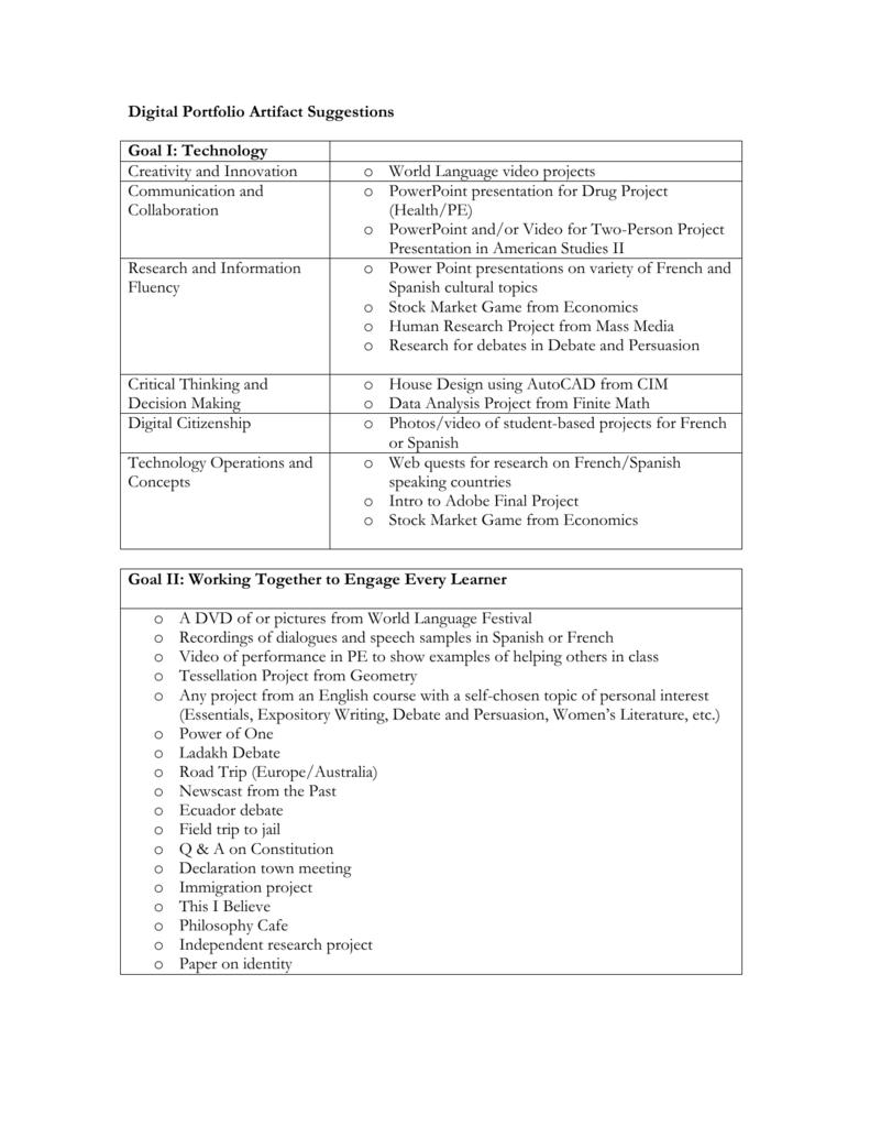 world language student portfolio rubric