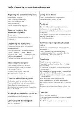Useful phrases for presentations and speeches