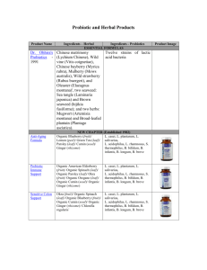 Probiotic and Herbal Products