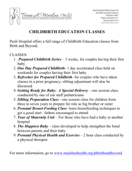 CHILDBIRTH EDUCATION CLASSES