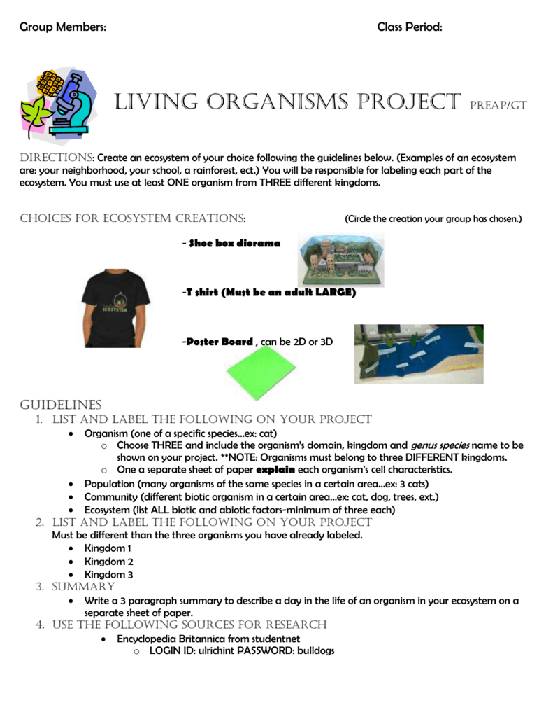 Group Members: Class Period: LIVING ORGANISMs PROJECT
