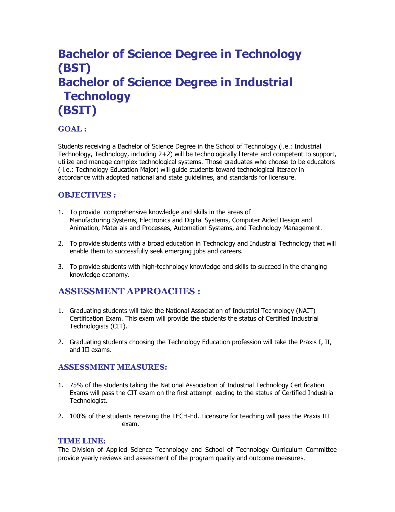 Bachelor Of Science Degree In Technology Bst