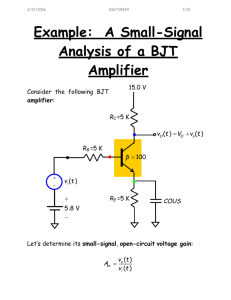 Example: A Small-Signal Analysis of a BJT Amplifier