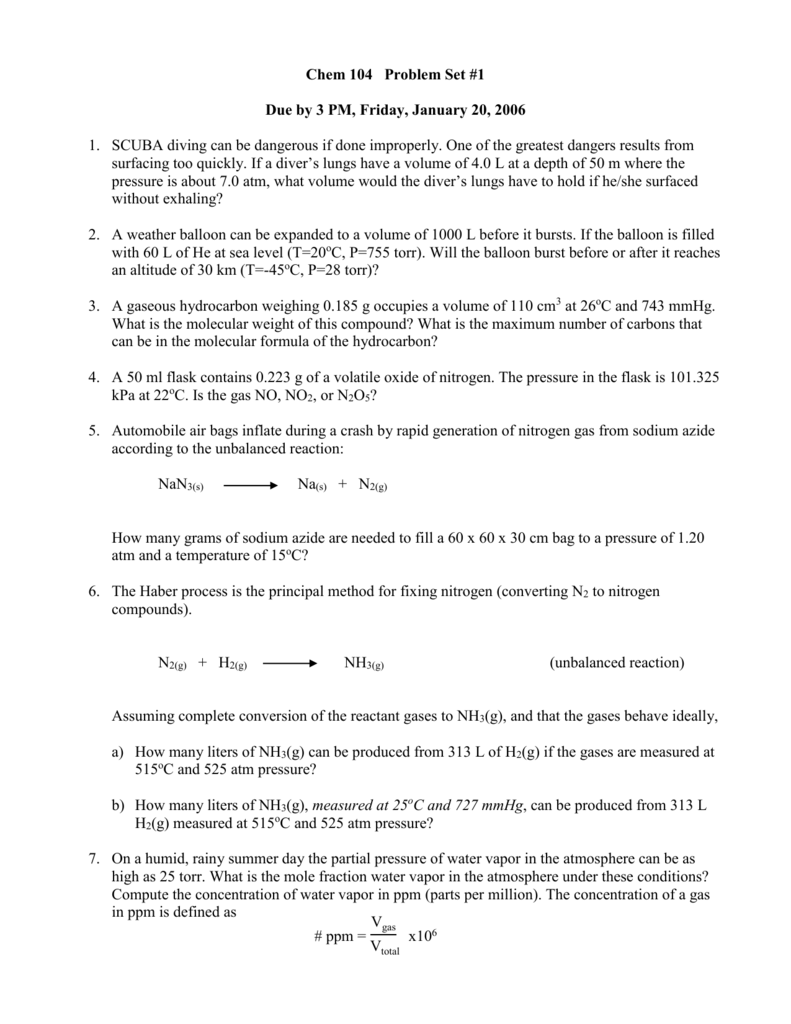 Chem 104 Problem Set #1