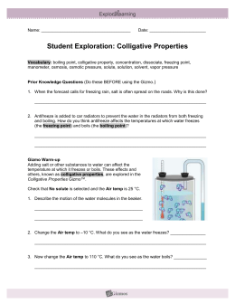Colligative Properties Gizmo