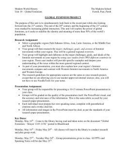 Global Feminism Project – Assignment Sheet