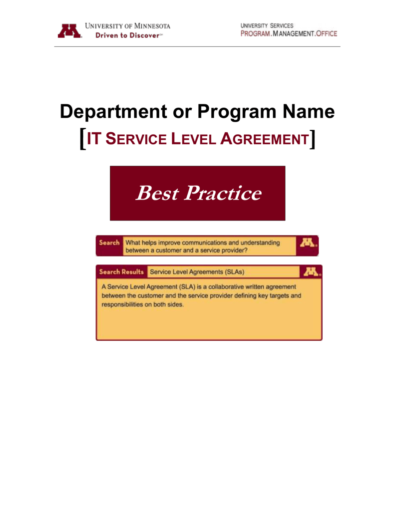 Service Level Agreement Best Practice