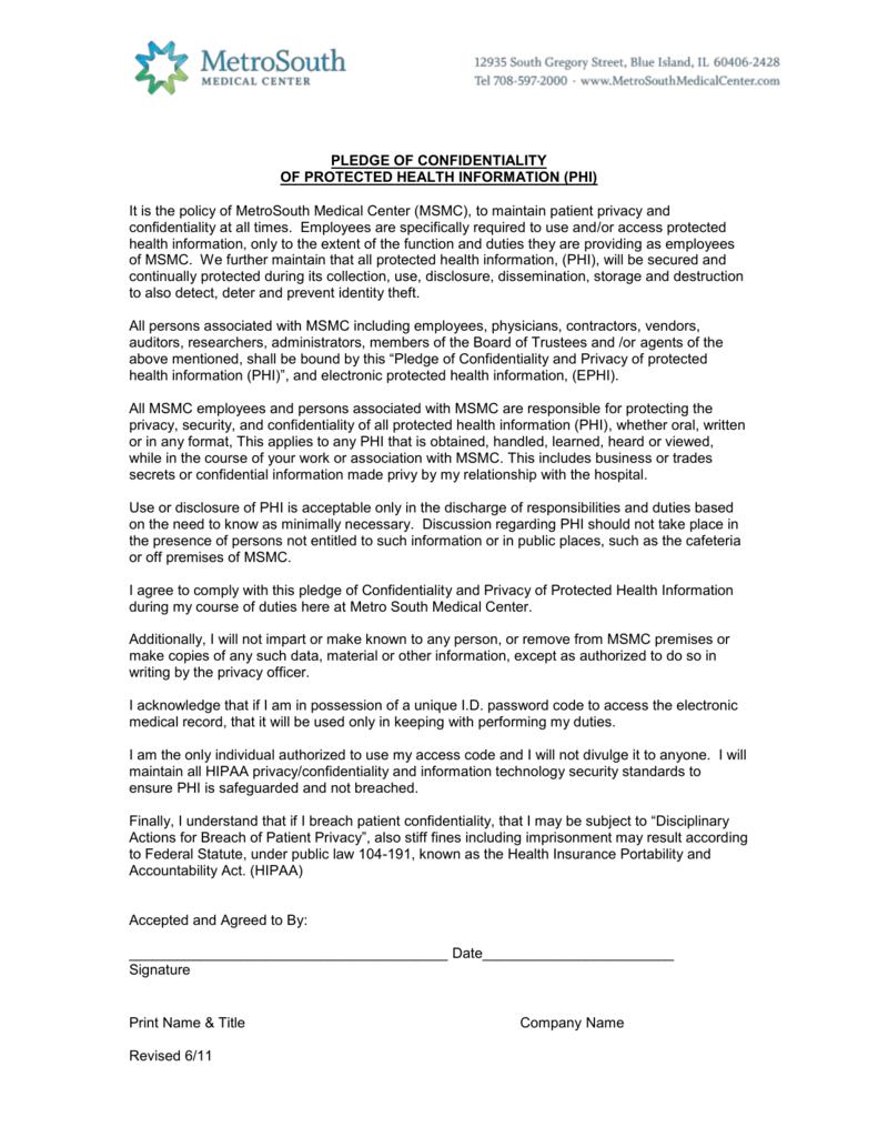 Pledge of confidentiality platinumwayz