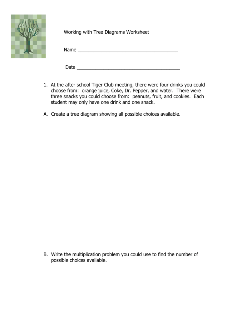 Worksheets Tree Diagram Worksheet 2 working with tree diagrams worksheet