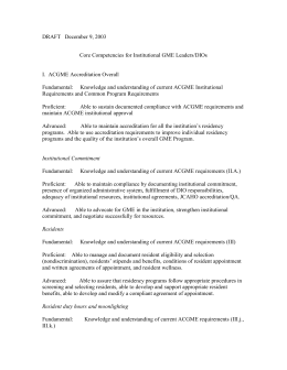 Core Competencies for Institutional GME Leaders/DIOs
