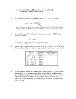 Fundamental Particles and Interactions – Problem Sheet 1
