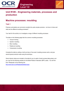 Lesson Element Activity, R109, Machine processes: moulding