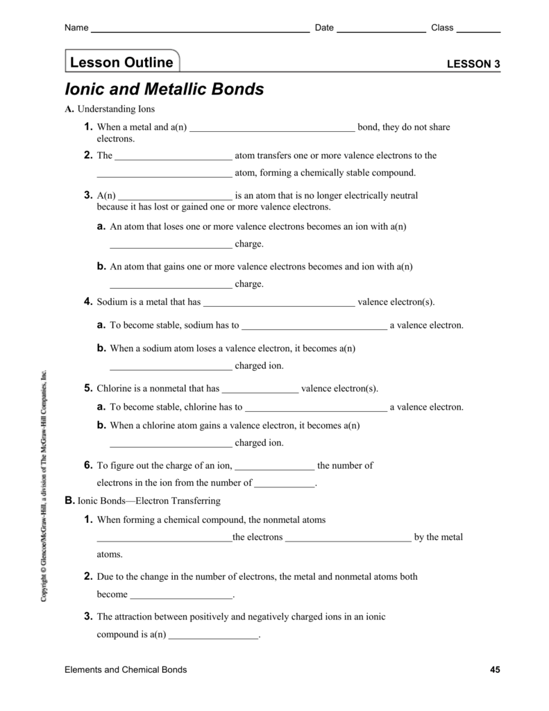 worksheet 10 metallic bonds answers breadandhearth. Black Bedroom Furniture Sets. Home Design Ideas