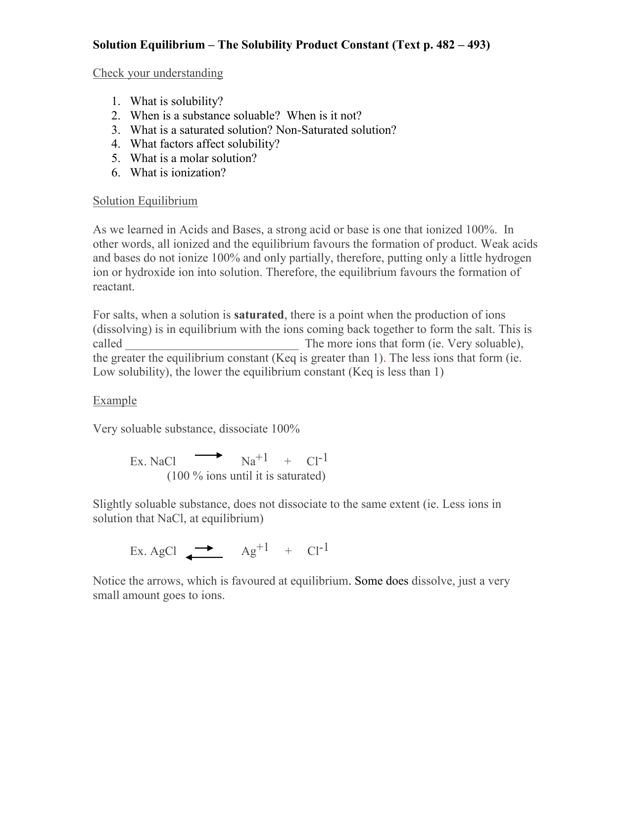 Solution Equilibrium The Solubility Product Constant Text p