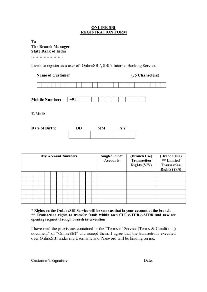 sbi online internet banking registration form html