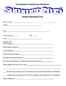 the Camper Info Form