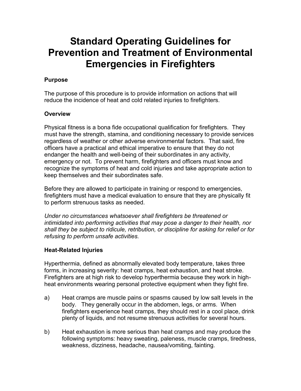 Standard Operating Guidelines for Prevention and Treatment