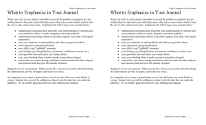 What to Emphasize in Your Journal