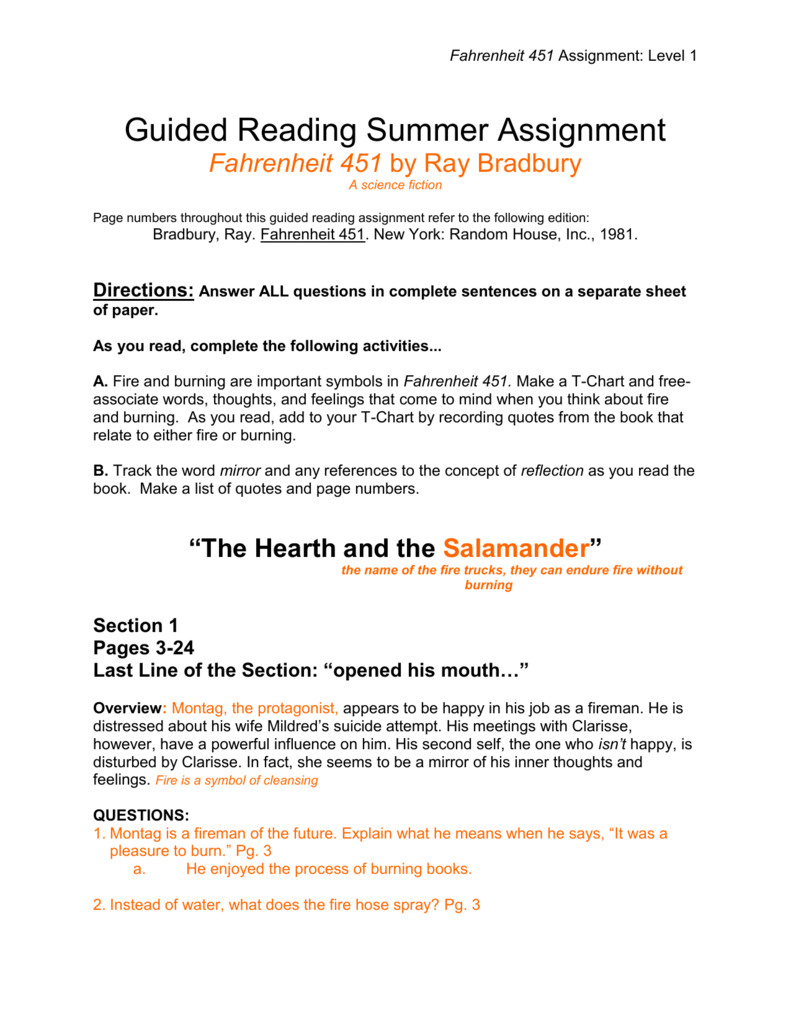 Fahrenheit 451 Quotes About Books Guided Reading Summer Assignment