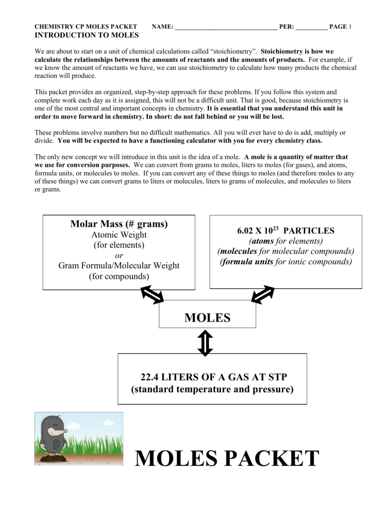CHEMISTRY WORKSHEET # 2 MOLE PROBLEMS—THE MOLE AS