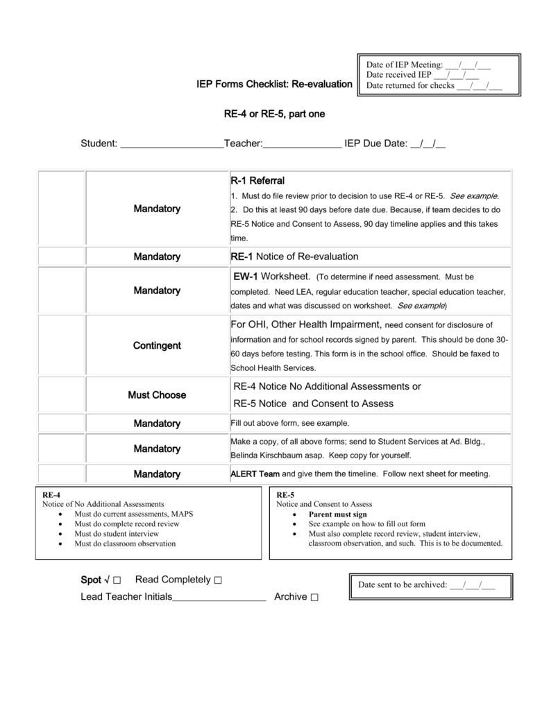 iep forms checklist annual